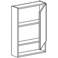 W50PD h. skříňka se zrcadlem BALI bílá/ořech pravá