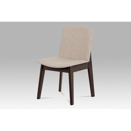 Jídelní židle, barva ořech, potah krémový BC-3915 WAL