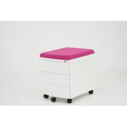 Mobilní ukládací box kovový s čalouněním k sezení II - růžový
