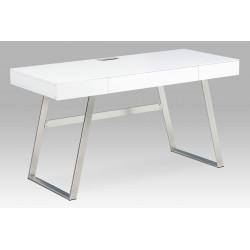 Kancelářský stůl 140x60, bílá MDF mat, broušený nikl, 3 šuplíky APC-601 WT