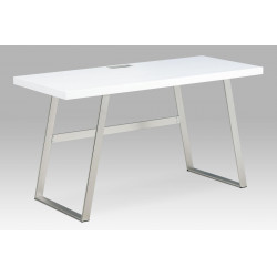 Kancelářský stůl 140x60, bílá MDF mat, broušený nikl APC-602 WT