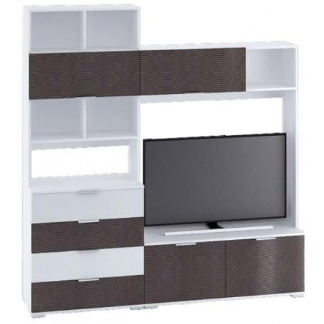 Televizní stěna TERRA wenge/bílá lesk