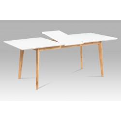 Rozkládací jídelní stůl 160+40x90, bílá MDF mat, masiv dub AT-6001 WT