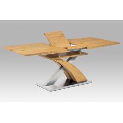 Jídelní stůl rozkládací 160+40x90 cm, MDF dekor dub, broušený nerez + MDF dekor dub HT-718 OAK