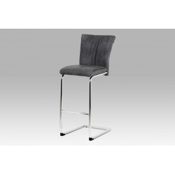 Barová židle šedá koženka / chrom BAC-192 GREY