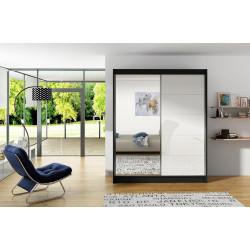 Šatní skříň VITTO V černá/bílá/zrcadlo