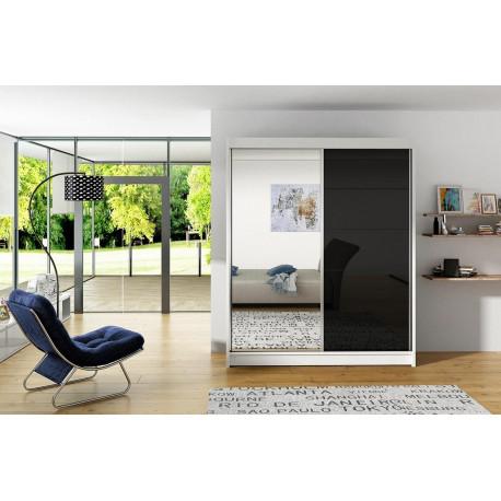 Šatní skříň VITTO V bílá/černá/zrcadlo