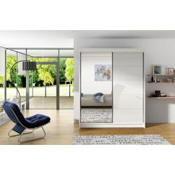 Šatní skříň VITTO V bílá/bílá/zrcadlo