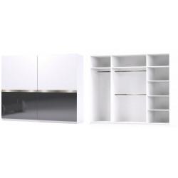 Šatní skříň GLOSSY varianta 3 bílá/grafit lesk
