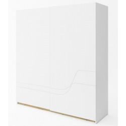 Šatní skříň s posuvnými dveřmi  WAVE bílá/dub riviera