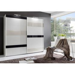 Šatní skříň MONDRIAN 864 bílá/šedá/prosecco