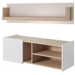 TV stolek + závěsná police BUBU dub jantar/bílá