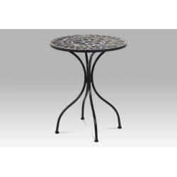 Stůl kovový s mozaikovou deskou, černý kov JF2204