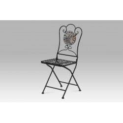 Židle kovová s mozaikou, černý kov JF2205