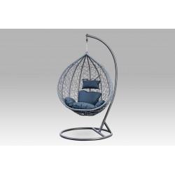 Závěsné křeslo velké, šedý umělý ratan, šedý kov, modrá látka AZ-003 GREY