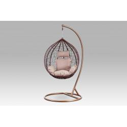 Závěsné křeslo malé, hnědý umělý ratan, hnědý kov, béžová látka AZ-004 BR