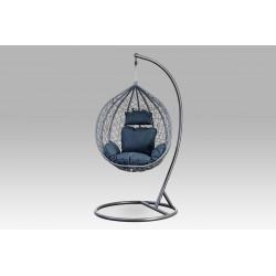 Závěsné křeslo malé, šedý umělý ratan, šedý kov, modrá látka AZ-004 GREY