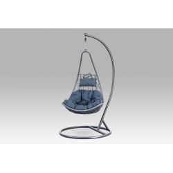Závěsné křeslo velké, šedý umělý ratan, šedý kov, modrá látka AZ-005 GREY