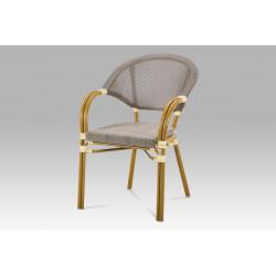 Zahradní židle, kov zlatý, textil cappuccino AZC-100 CAP