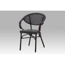 Zahradní židle, kov hnědý, textil černý AZC-110 BK