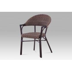Zahradní židle, kov hnědý, ratan hnědý AZC-120 BR