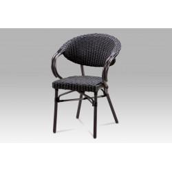 Zahradní židle, kov hnědý, ratan černý AZC-130 BK