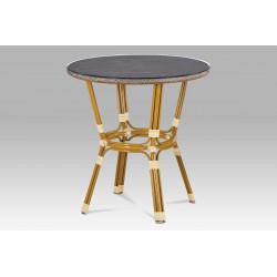 Zahradní stůl, kov zlatý, textil cappuccino AZT-101 CAP