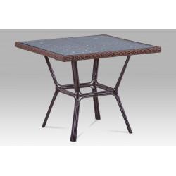 Zahradní stůl, kov hnědý, umělý ratan hnědý AZT-121 BR