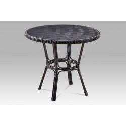 Zahradní stůl, kov hnědý, umělý ratan černý, polywood černý AZT-131 BK