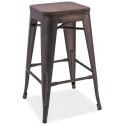 **Barová kovová židle LONG grafit/tm.ořech