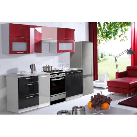 *Kuchyně FLOWERS 180 červená/černá lesk