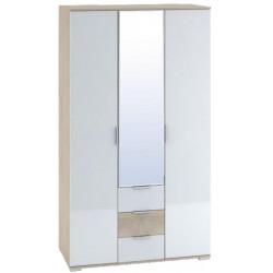 Šatní skříň 3-dveřová TERRA sonoma/bílá lesk