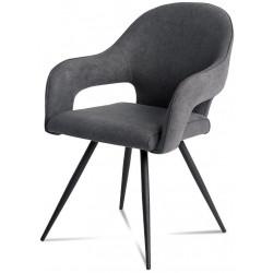 Jídelní židle - šedá látka, kovová podnož, černý matný lak HC-031 GREY2