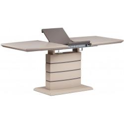 Jídelní stůl 140+40x80 cm, cappucino mat + šedohnědá HT-410 CAP