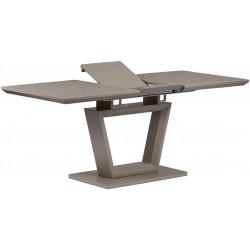 Rozkládací jídelní stůl 140+40x80x76 cm, MDF deska, barva matná lanýžová, lanýžové sklo satin HT-466 LAN