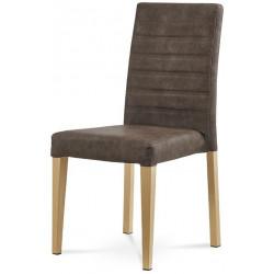 Jídelní židle - hnědá látka v dekoru broušené kůže, kovová podnož, 3D dekor divoký dub WE-9092 BR3