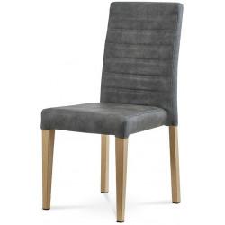 Jídelní židle - šedá látka v dekoru broušené kůže, kovová podnož, 3D dekor divoký dub WE-9092 GREY3