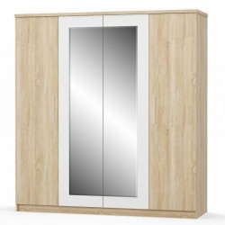 Šatní skříň 4D MARKOS dub sonoma/bílá