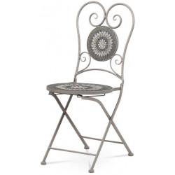 Židle kovová s keramickou mozaikou, šedý lak JF2220