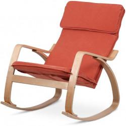 Relaxační křeslo, potah látka terracotta, ohýbaná překližka, moření v přírodním odstínu QR-21 NAT