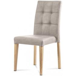 Jídelní židle, lanýžová látka v dekoru broušené kůže, kovová podnož, 3D dekor dub WE-9091 LAN3