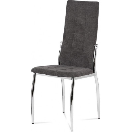 Jídelní židle, šedá látka, kov chrom DCL-213 GREY2