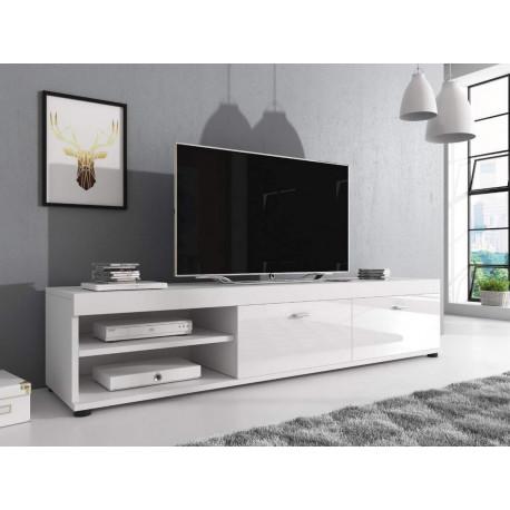 Televizní stolek NOVEL bílá/bílá lesk