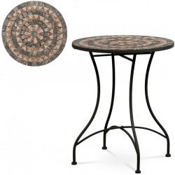 Zahradní stůl, deska z keramické mozaiky, kov, černý lak (designově k židli JF2226) JF2225