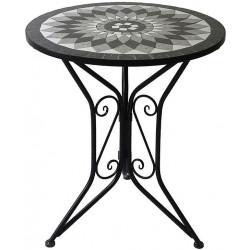 Stůl kovový s mozaikou. Černý lak. US1006
