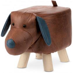 Taburet - pes, potah hnědá látka v dekoru vintage kůže, masivní nohy z kaučukovníku v přírodním  odstínu LA2011
