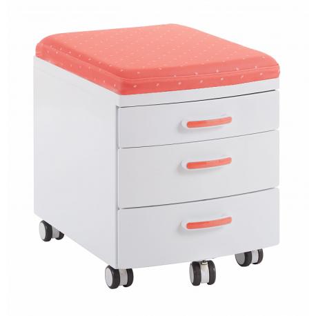 Mobilní ukládací box kovový s čalouněním k sezení I - růžový