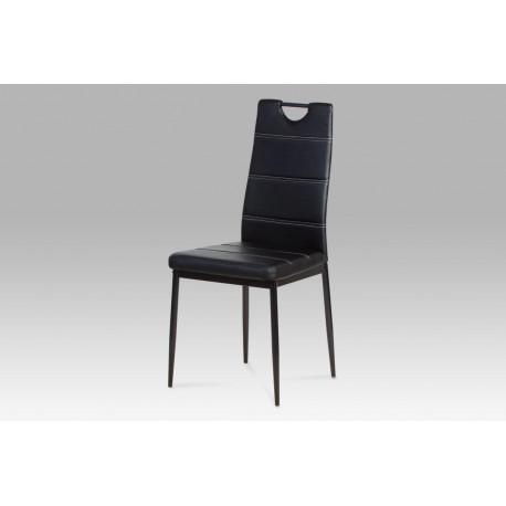 Jídelní židle koženka černá / černý lak