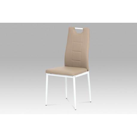 Jídelní židle koženka cappuccino / bílý lak