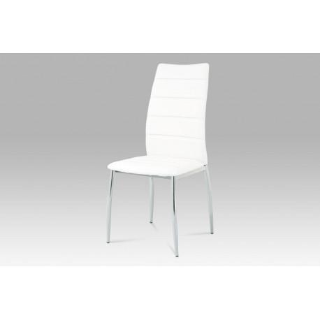 Jídelní židle chrom / koženka bílá
